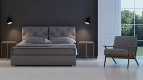 3 d sypialni otoczenia wewnętrznej pozbawione piorun klasyczny nowoczesnego Fotografia Royalty Free