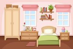 3 d sypialni otoczenia wewnętrznej pozbawione piorun również zwrócić corel ilustracji wektora Zdjęcia Stock