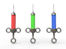 3d syringes with red, green and blue fluid Royalty Free Stock Photo