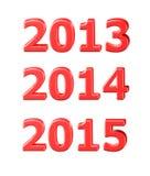 3D szablony 2013, 2014, 2015 Obraz Royalty Free