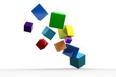 3d sześcianów colourful unosić się ilustracja wektor