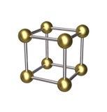 3D sześcianu złocista piłka i srebra prącie royalty ilustracja