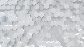 3D sześciokąta abstrakta ilustracyjny biały geometryczny tło Nawierzchniowy sześciokąta wzór, heksagonalny honeycomb fotografia royalty free