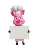 3d szefa kuchni świnia z białą deską Fotografia Royalty Free