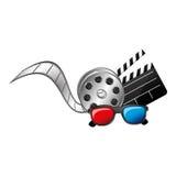 3d szkła, ikona, clapper deski filmu i film produkci Zdjęcie Royalty Free