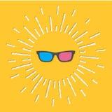 3D szkieł ikona Olśniewająca skutka junakowania linia yellow Obraz Royalty Free