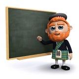 3d szkot uczy przy blackboard Obrazy Stock