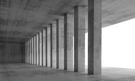 3d tömmer inre med konkreta kolonner och vita fönster Arkivbilder