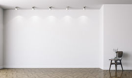 3d tömmer inre med vita väggar stock illustrationer