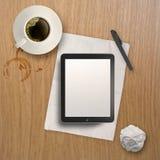 3d tömmer minnestavlan och en kopp kaffe Arkivbilder