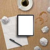 3d tömmer minnestavlan och en kopp kaffe Arkivfoton