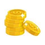 3d tła biznesu monet pojęcia złocistego rozsypiska ilustracyjny biel Zdjęcie Royalty Free