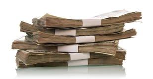 3d tła rachunków dolar odpłaca się sterta biel obrazy stock