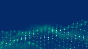 3d tła sieci Abstrakcjonistyczny pojęcie Przyszłościowa tło technologii ilustracja 3 d krajobrazu Duży Dane Wireframe Obrazy Royalty Free