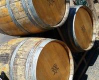 3d tło baryłki modelują biały wino Obrazy Stock