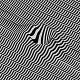 3d tło falisty Dynamiczny skutek Czarny i biały projekt Wzór z okulistycznym złudzeniem Zdjęcia Royalty Free