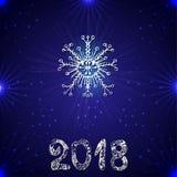 3d tło wizerunek błękitny wysoki ilustracyjny odpłacał się postanowienie płatek śniegu Nowy rok 2018 również zwrócić corel ilustr Fotografia Stock