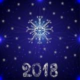 3d tło wizerunek błękitny wysoki ilustracyjny odpłacał się postanowienie płatek śniegu Nowy rok 2018 również zwrócić corel ilustr Zdjęcie Royalty Free