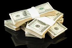 3d tła rachunków dolar odpłaca się sterta biel Fotografia Stock