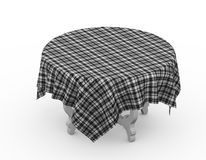 3d table with covered tartan plaid fabric cloth Royalty Free Stock Images
