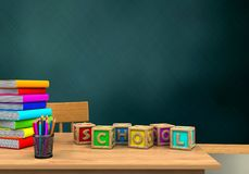 3d table. 3d illustration of schoolboard with letters cubest and pile of literature Royalty Free Stock Photo