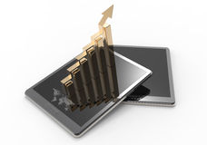 3d tablet computer with a bar graph. As concept Stock Photo