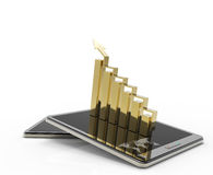 3d tablet computer with a bar graph. As concept Royalty Free Stock Image