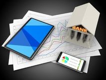 3d tablet computer. 3d illustration of diagram papers and tablet computer over black background with bank Stock Photography