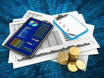 3d tablet. 3d illustration of business charts and tablet over digital background with clipboard Royalty Free Stock Images
