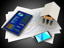 3d tablet. 3d illustration of diagram papers and tablet over black background with bank Stock Photography