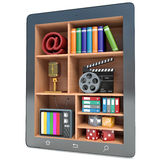 3d tablet pc multimedia concept, isolated white Stock Images