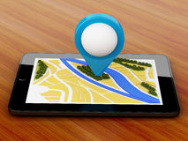 3d tablet pc with navigator map and pointer marker on city. Royalty Free Stock Image
