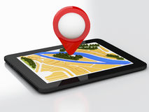 3d tablet pc with navigator map and pointer marker on city. Stock Photography