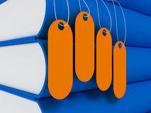 3d tags on blue book Stock Photo