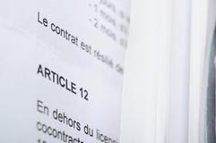 D?tail di un contratto di lavoro francese Immagini Stock