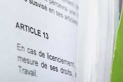 D�tail of a french employment contract Stock Image
