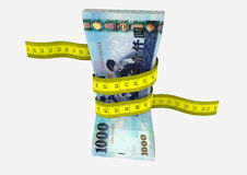 3D Taiwanese with Measure tape. Piles of 3D Rendered Taiwan money with with yellow measure tape isolated on white background Stock Photography