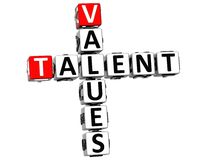 3D Talent Values Crossword Royalty Free Stock Image