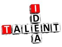 3D talentu pomysłu Crossword Obrazy Stock