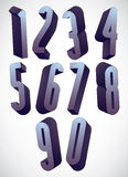 3d tall condensed numbers set. Stock Photo