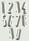 3d tall condensed numbers set. Stock Photography