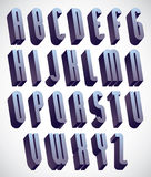 3d tall and thin font, monochrome dimensional alphabet. Royalty Free Stock Photo