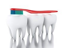 3D Tandenborstel die een tand borstelen Stock Fotografie