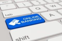 3d - tangentbord - online-bankrörelse - blått Royaltyfri Foto