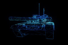 3D Tank Hologram Wireframe in Motion. 3D Rendering Stock Photography