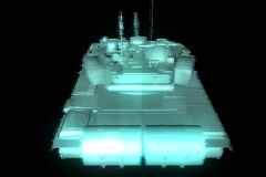 3D Tank Hologram Wireframe in Motion. 3D Rendering Royalty Free Stock Photo