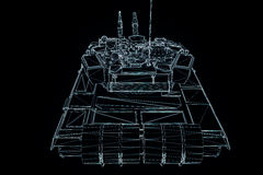 3D Tank Hologram Wireframe in Motion. 3D Rendering Stock Photo