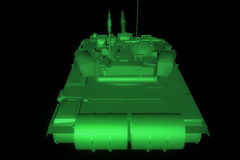 3D Tank Hologram Wireframe in Motion. 3D Rendering Stock Images