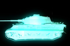 3D Tank Hologram Wireframe in Motion. 3D Rendering Royalty Free Stock Photos
