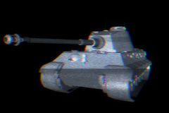 3D Tank Hologram Wireframe in Motion. 3D Rendering Royalty Free Stock Photography